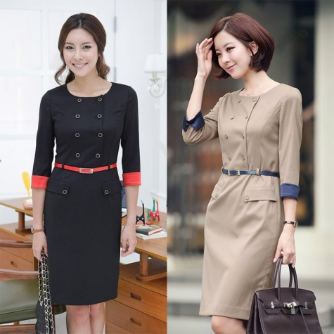 Korea design double-breasted high quality work dress for office women - TiaNex
