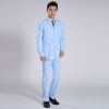 light blue coat and trousersclassic front opening  men nurse doctor uniform suits ( jacket and tousers)