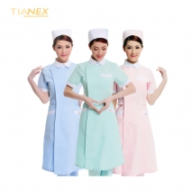 white collar short sleeve long coat for nurse hospital doctor