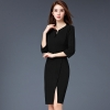 blackformal split business office work uniform dress