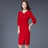 redformal split business office work uniform dress