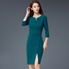 blackish greenformal split business office work uniform dress