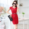 red dressKorea design formal office lady work dress desk service lady