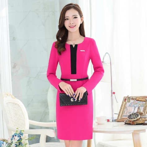 Korea Style Long Sleeve Women Work Dress Tianex