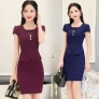 fashion Asian business office women work dress with necklace