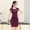 winefashion Asian business office women work dress with necklace