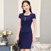 navyfashion Asian business office women work dress with necklace