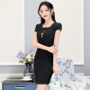 blackfashion Asian business office women work dress with necklace