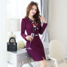 purplefashion design long sleeve business wear dress