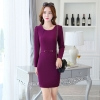 purplefall fashion round collar women long sleeve work dress