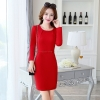 red fall fashion round collar women long sleeve work dress BLKE 1633