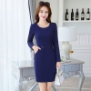 navyfall fashion round collar women long sleeve work dress BLKE 1633