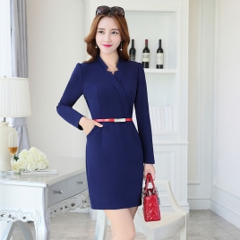 fashion side open design long sleeve work dress BLKE 1635