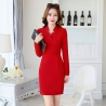 red dressnew arrival autumn design women long sleeve work dress BLKE 1635