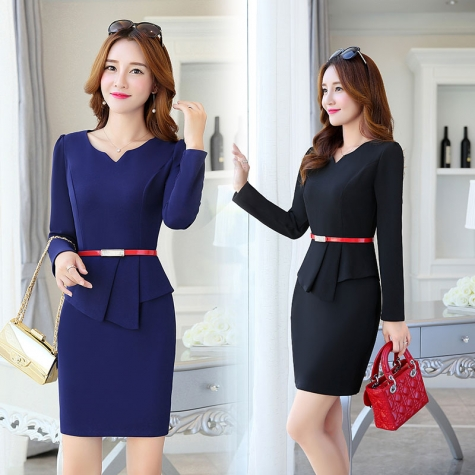 fashion knitted women formal work dress