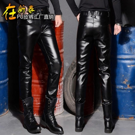Korea design slim fit club party PU leather young men's pant trousers