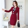 wine Europe design fashion long sleeve one-piece work dress
