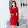 red work dresshot sale long sleeve black work dress career women dress