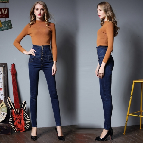 Europe fashion high waist denim women jeans pant