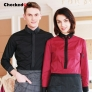 fashion contrast grid twill collar shirt (can be used as hotel waiter uniforms)
