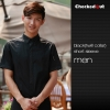 men short sleeve black (twill collar) shirtfashion contrast grid twill collar shirt (can be used as hotel waiter uniforms)