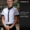 women short sleeve white (twill collar) shirtfashion contrast collar shirt office restaurant uniform