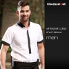 men short sleeve white (twill collar) shirtfashion contrast grid twill collar shirt (can be used as hotel waiter uniforms)