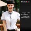 women white(grid collar) short sleeve shirtfashion contrast collar shirt office restaurant uniform