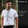 men white(grid collar) short sleeve shirtfashion contrast grid twill collar shirt (can be used as hotel waiter uniforms)
