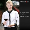 women long sleeve white (twill collar) shirtfashion contrast grid twill collar shirt (can be used as hotel waiter uniforms)