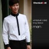 men long sleeve white(twill collar) shirtfashion contrast grid twill collar shirt (can be used as hotel waiter uniforms)