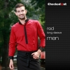 men long sleeve red shirtfashion contrast grid twill collar shirt (can be used as hotel waiter uniforms)