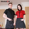 fashion contrast collar shirt office restaurant uniform