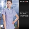 women short sleeve light blue2017 fall restaurant wait staff waiter shirt uniforms