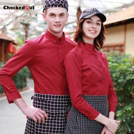 long sleeve button down collar waiter waitress shirt uniform