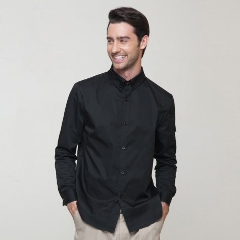 long sleeve button down collar waiter uniform waitress shirt