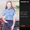 women light blue short sleeve shirtsummer restaurant wing up  collar waiting staff shirt uniforms