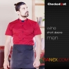 men red short sleeve shirtsummer restaurant wing up  collar waiting staff shirt uniforms