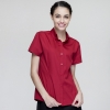 short sleeve red waitress shirtsummer button down collar serving staff shirt fast food waiter uniforms