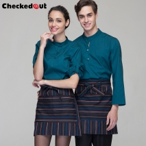 casual wide sleeve opening waiter pullover shirts waiter uniforms