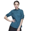 women blackish greencasual wide sleeve opening waiter pullover shirts waiter uniforms