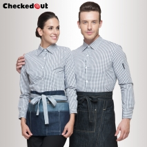 grid printing fast food waiter shirts cafe bar KVT KTC uniforms
