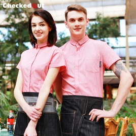 stripes printing wait staff store clerk shirt uniform