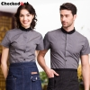 short sleeve summer black collar waiter staff uniforms shirt
