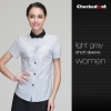 women light greyshort sleeve summer black collar waiter staff uniforms shirt