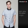 men light greyshort sleeve summer black collar waiter staff uniforms shirt