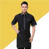 color 2stripes collar hem waiter man uniforms shirt apron