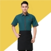 color 4stripes collar hem waiter man uniforms shirt apron