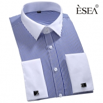 good quality fabric stripes price men shirt