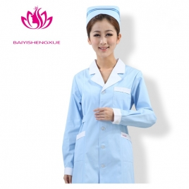 long sleeve white hem collar female nurse care center uniform coat